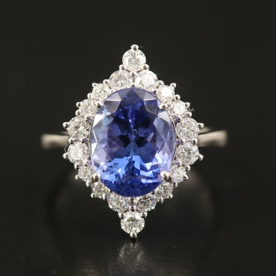 Platinum 4.20 CTW Tanzanite and Diamond Ring