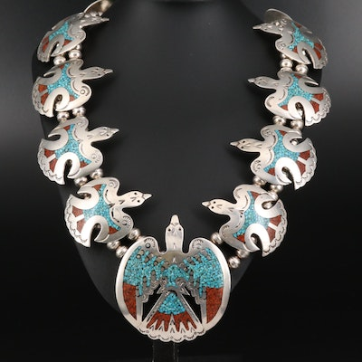 Southwestern Style Sterling Silver Turquoise and Coral Thunderbird Necklace