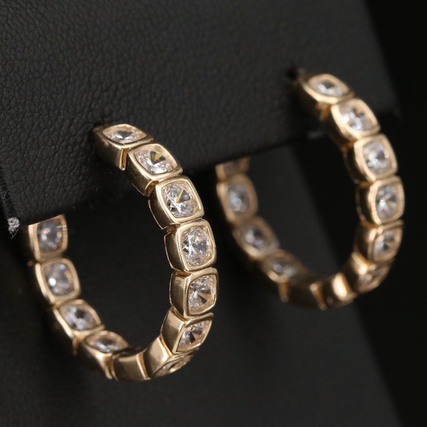 Sterling Cubic Zirconia Inside-Out Hoop Earrings