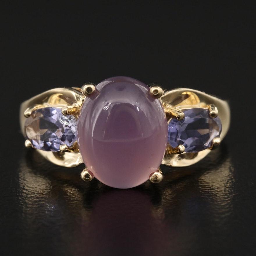 14K Chalcedony and Tanzanite Ring