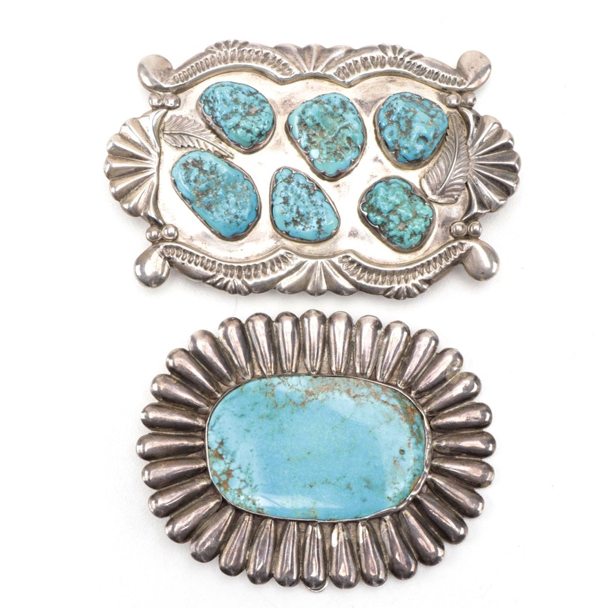 Phillip Iule Zuni Sterling Silver Turquoise Buckle and Other Turquoise Buckle