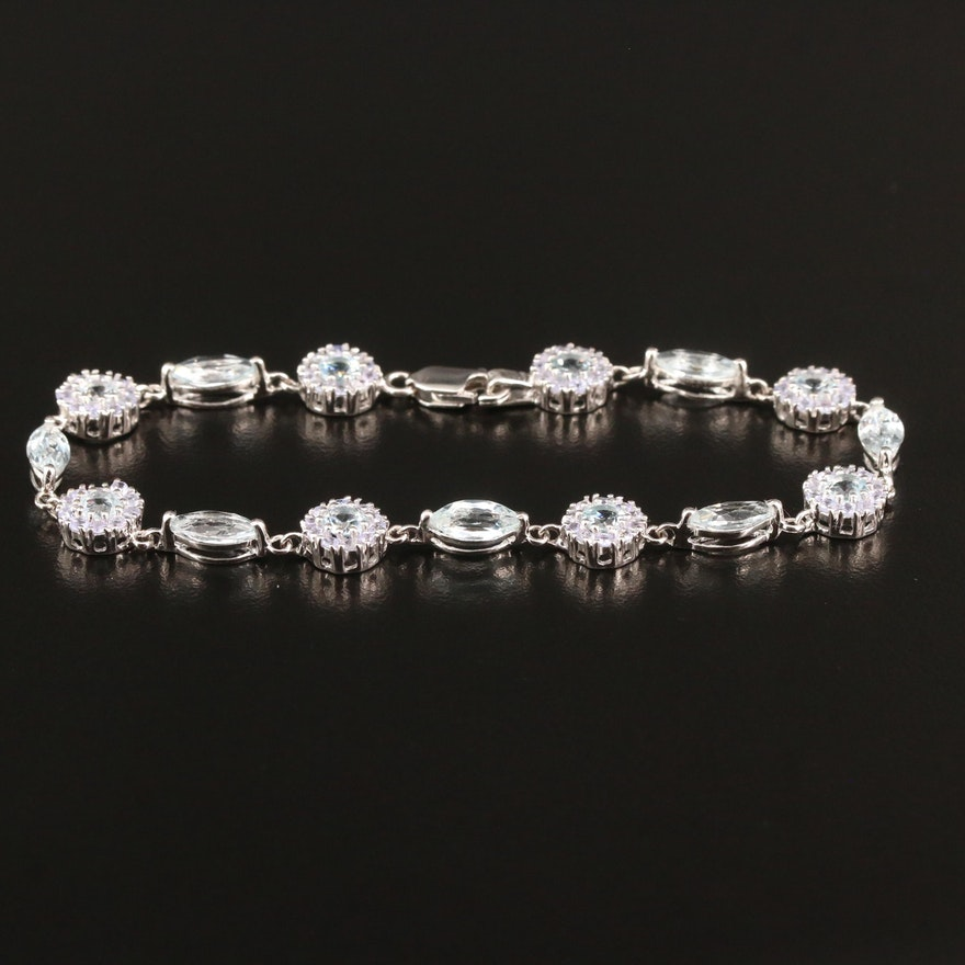 Sterling Silver Topaz and Tanzanite Bracelet