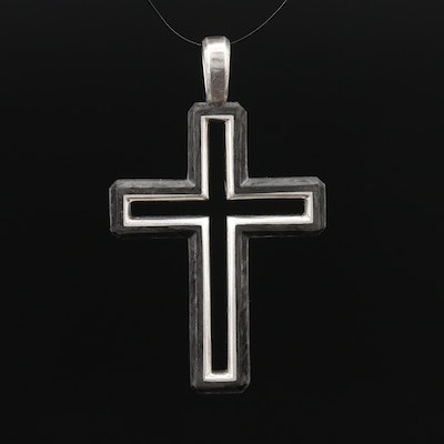 David Yurman Forged Carbon Sterling Silver Cross Pendant