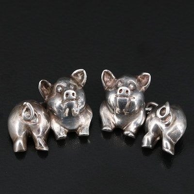 Sterling Silver Pig Cufflinks with Box