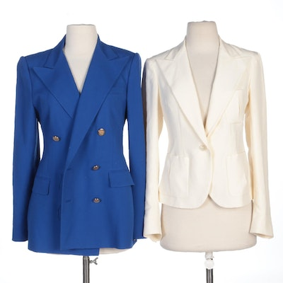 Ralph Lauren Purple Label Ivory Silk Shantung and Blue Cashmere Jackets