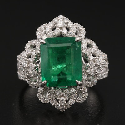 Platinum 4.48 CT Emerald and Diamond Ring with AGL Report