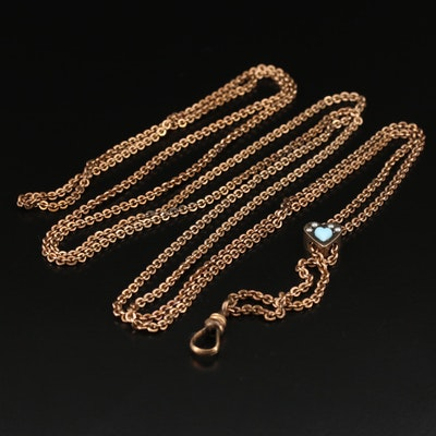 Victorian Watch Chain with Faux Pearl and Faux Turquoise Heart Slides