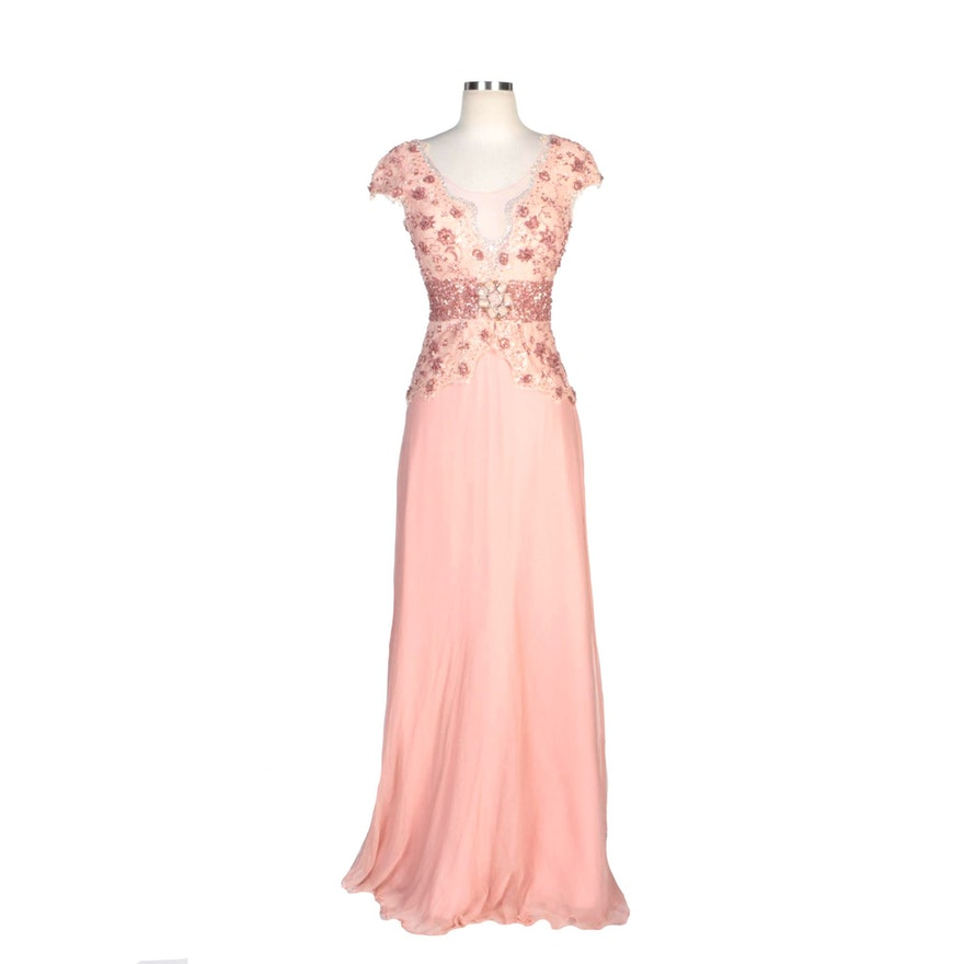 Alberto Makali Dusty Rose Silk Blend Gown with Beaded Lace Bodice Overlay