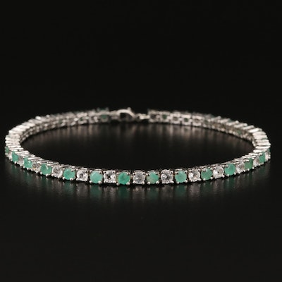 Sterling Emerald and Topaz Line Bracelet