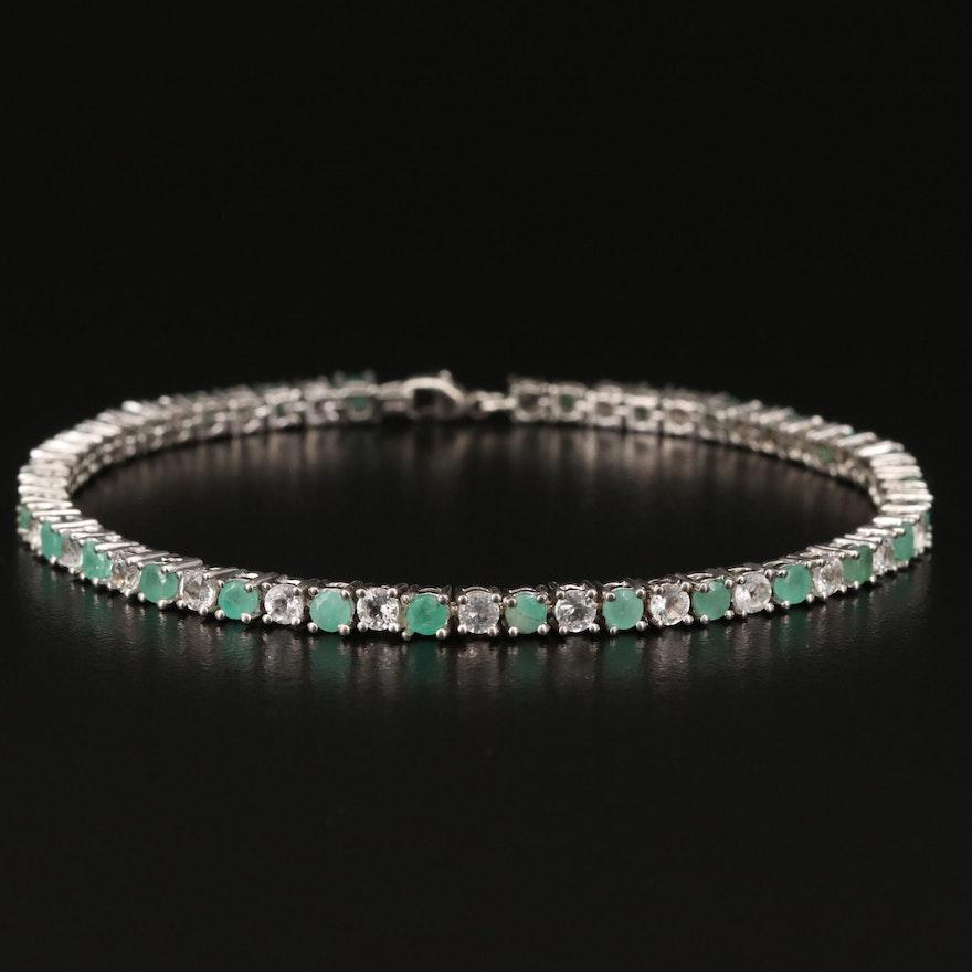 Sterling Emerald and Topaz Line Bracelet