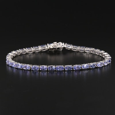 Sterling Silver Tanzanite Tennis Bracelet