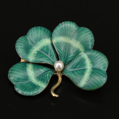 Art Nouveau 14K Pearl and Enamel Four Leaf Clover Converter Brooch
