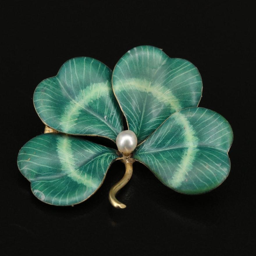 Art Nouveau 14K Pearl and Enamel Four Leaf Clover Converter Brooch