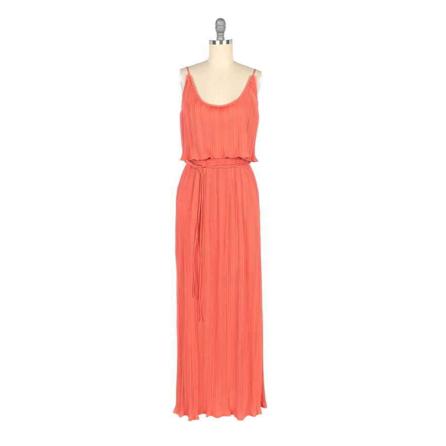 Marita by Anthony Muto Union Made Pleated Coral Sleeveless Evening Dress