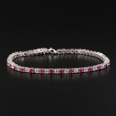 Sterling Silver Ruby and White Sapphire Tennis Bracelet