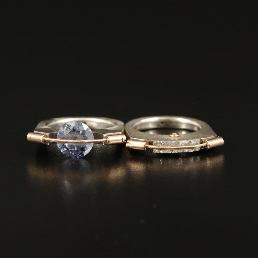 Modernist T. Plodowski Sterling Cubic Zirconia Rings