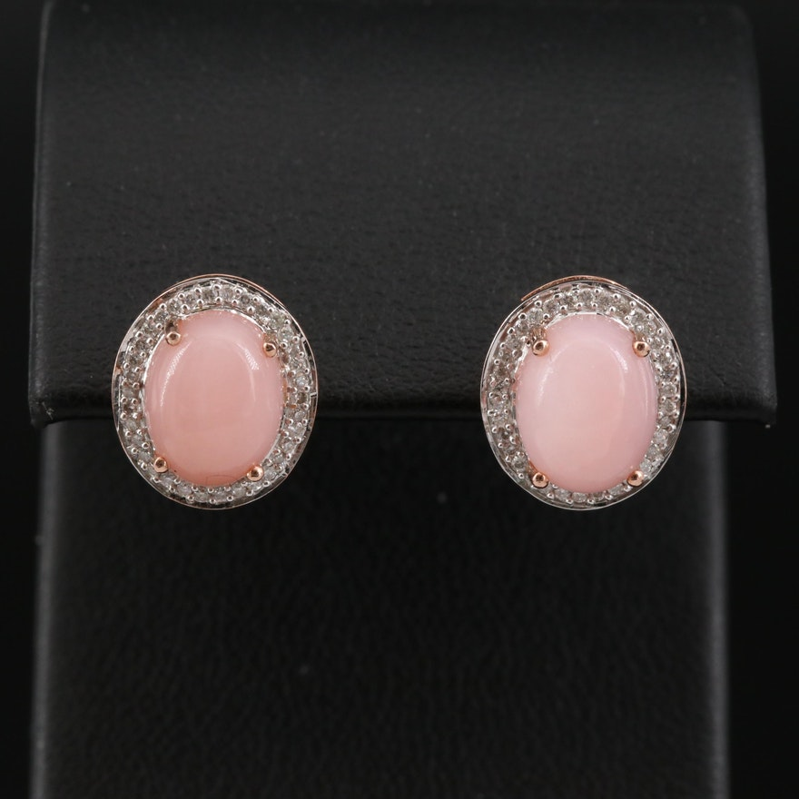 14K Rose Gold Opal and Diamond Halo Earrings