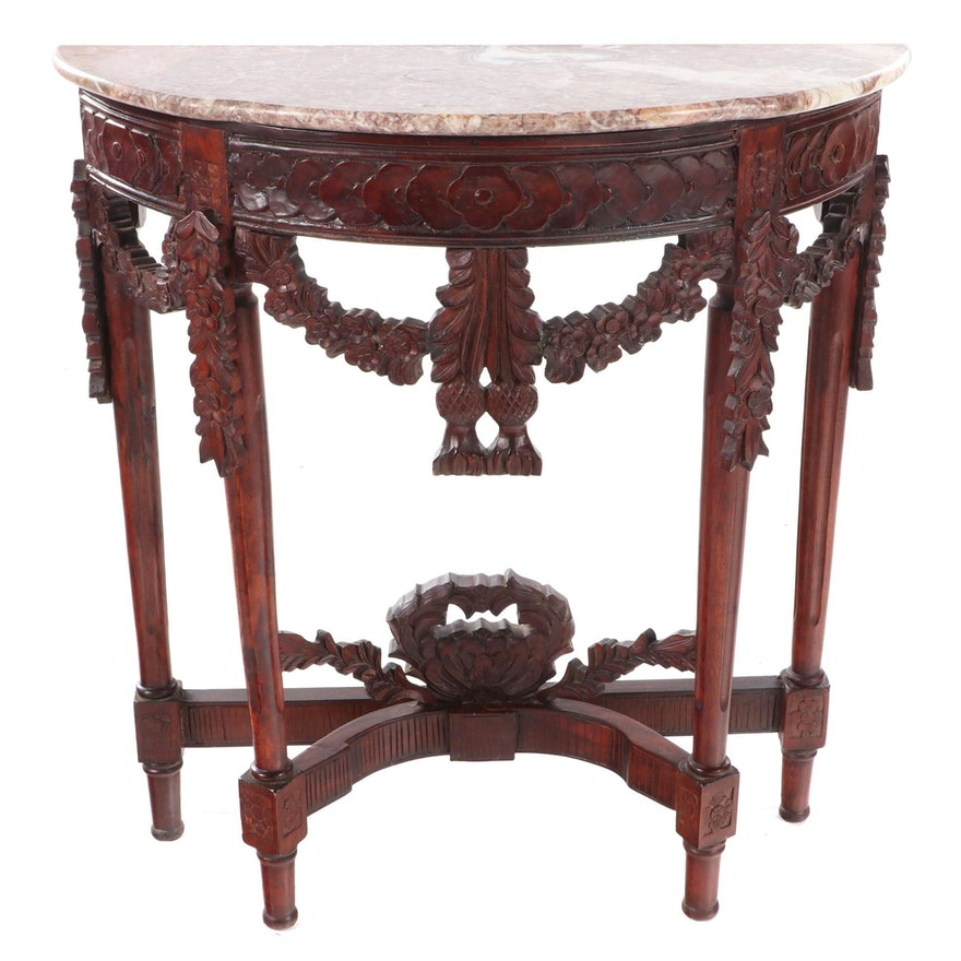Louis XVI Style Carved Hardwood and Marble Top Demilune Console Table