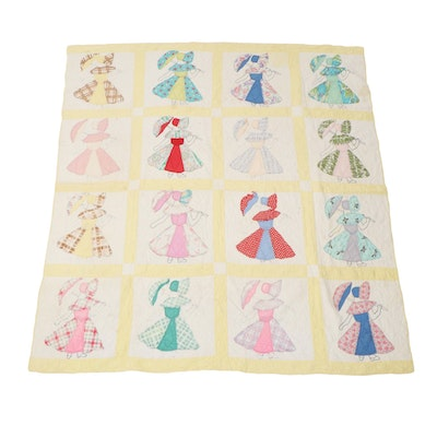 Handmade Twin Sized Quilt of Figure Holding Parasol