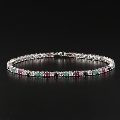 Sterling Silver Ruby, Emerald and Sapphire Line Bracelet