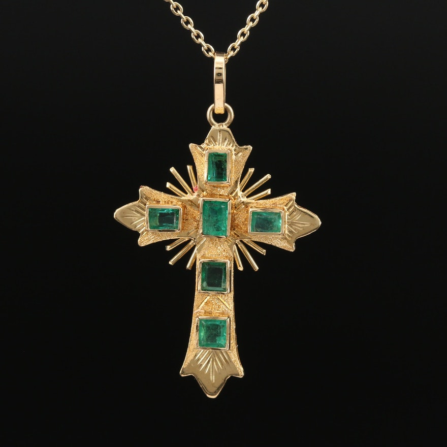 18K Emerald Cross Pendant on 14K Chain Necklace