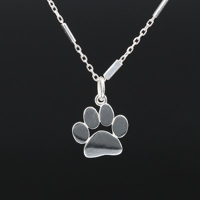 Sterling Paw Print Necklace