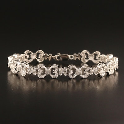 Sterling Silver Diamond Heart Link Bracelet