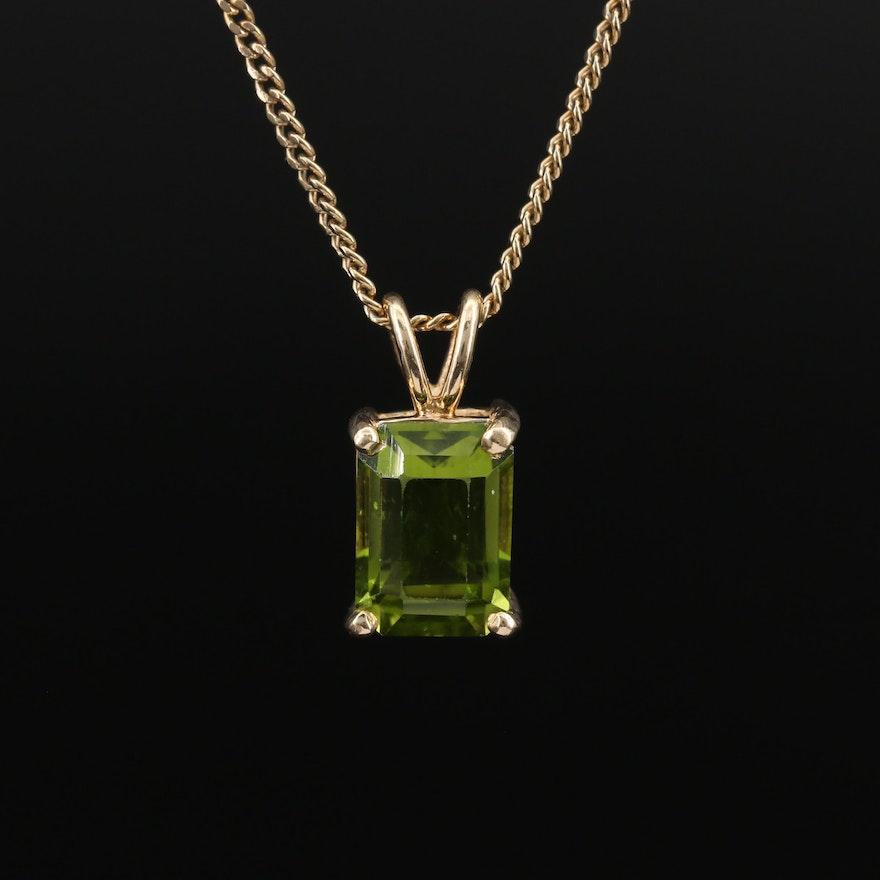 14K 4.68 CT Peridot Pendant Necklace