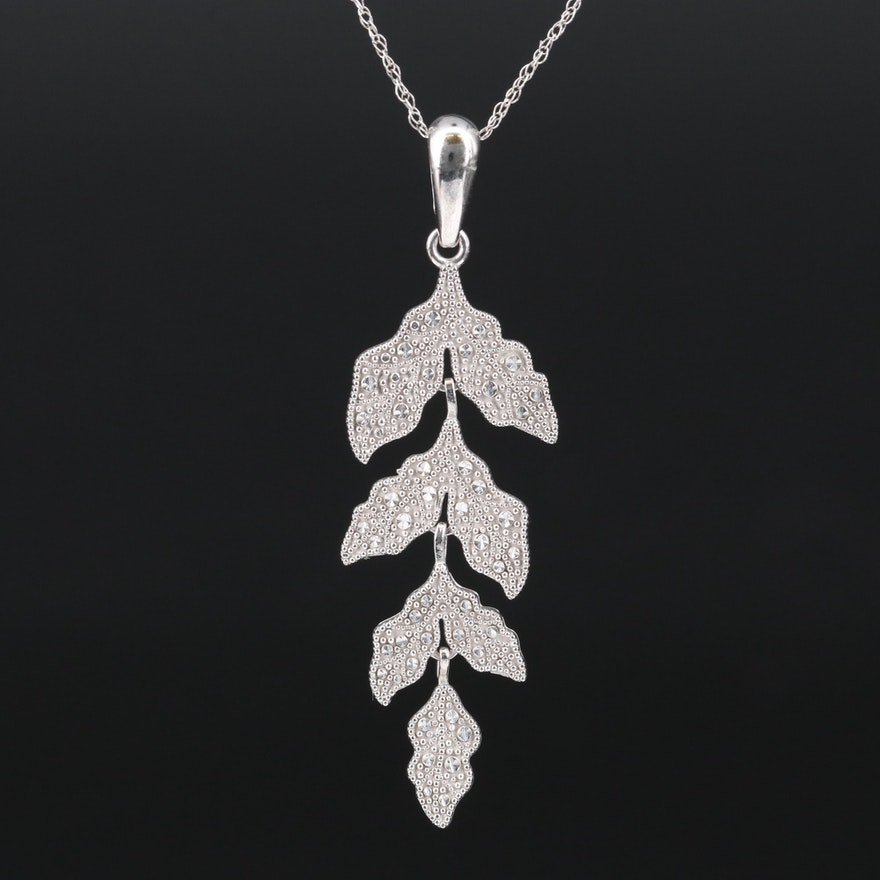 14K Articulated Leaf Pendant Necklace