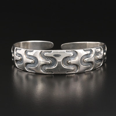 Vintage Norwegian David Andersen Sterling Silver Viking Reproduction Cuff