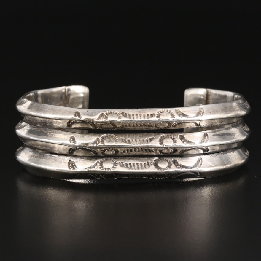 Vintage Southwestern Style Sterling Silver Three Row Stampwork Cuff