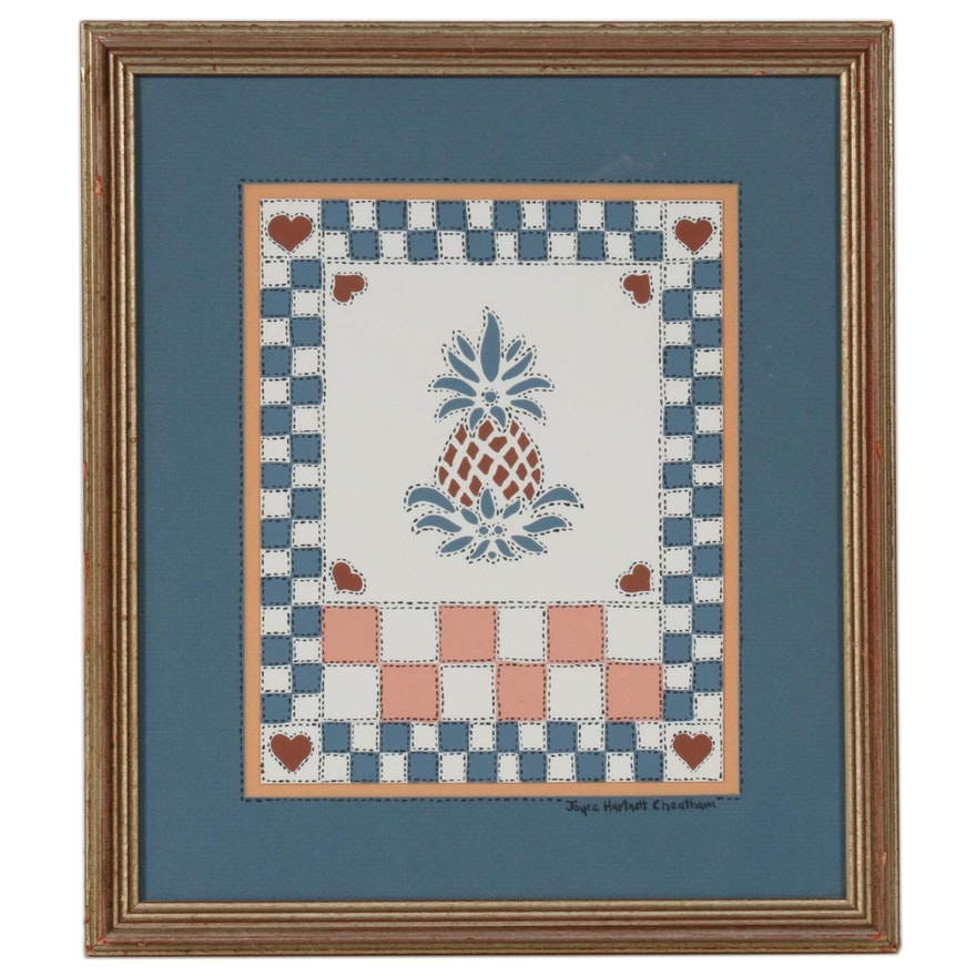 Gouache Painting of Stitched Pineapple Design