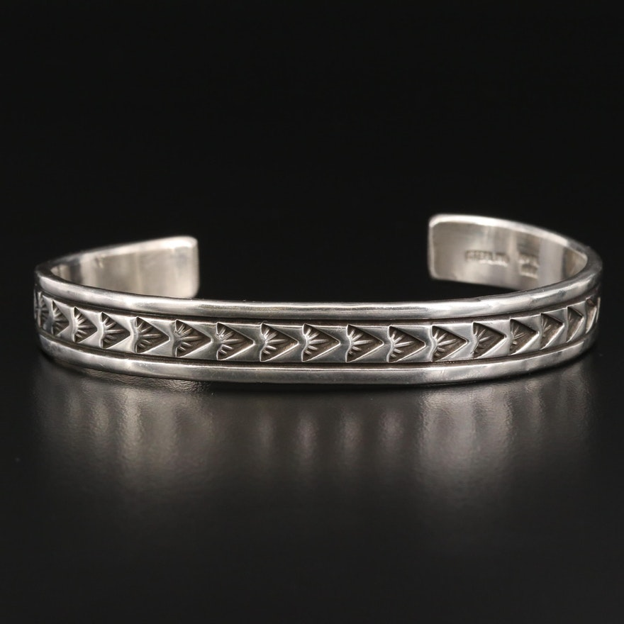 Ken and Mary Bill Navajo Diné Sterling Silver Stampwork Cuff