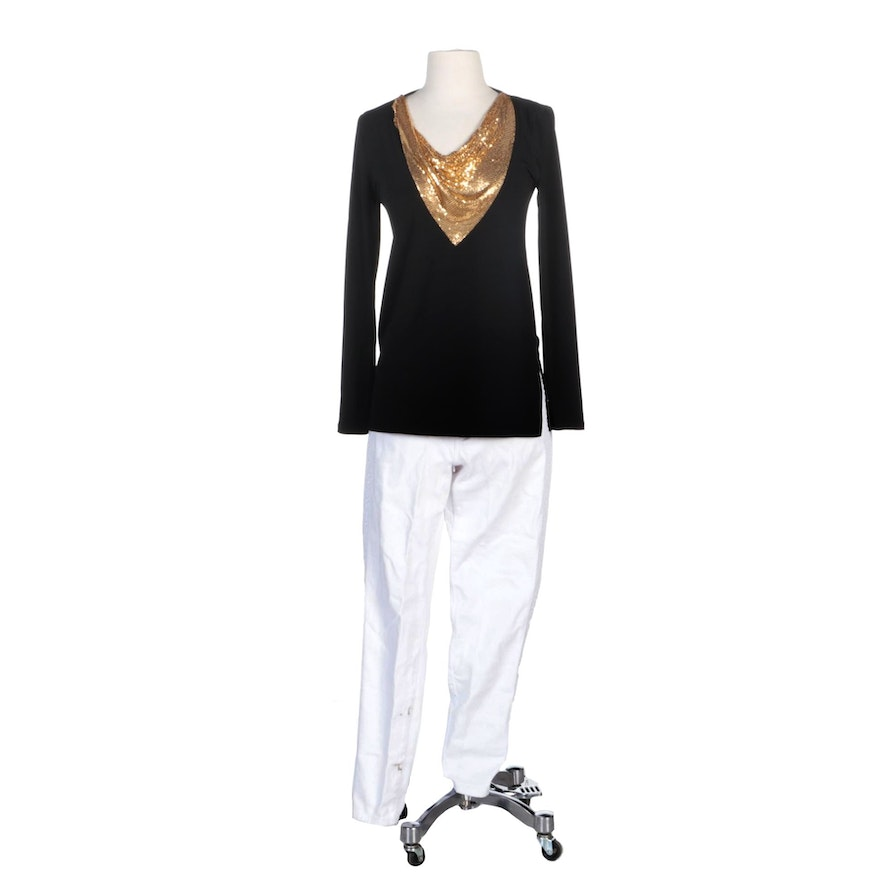 Michael Kors Brand Tunic Top with Gold Tone Mesh Bib and Izzy Skinny Jeans