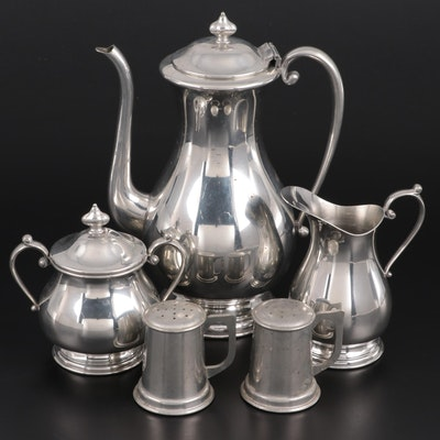 Kirk Pewter Coffee Pot, Sugar and Creamer with Stieff Pewter Shakers