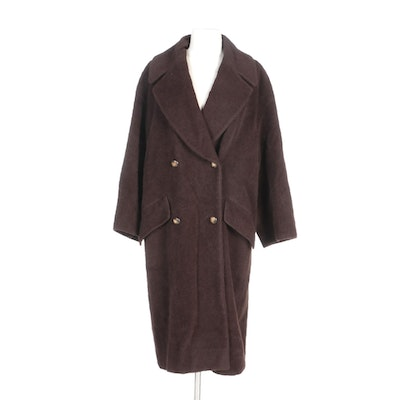 Louis Féraud Brown Alpaca and Wool Notch Lapel Coat