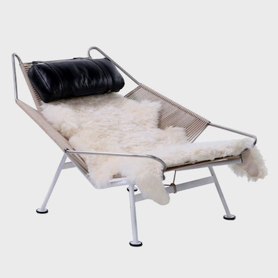 "Hans Wegner Steel, Rope, Leather, and Sheepskin ""Flag Halyard"" Chair and Ottoman"