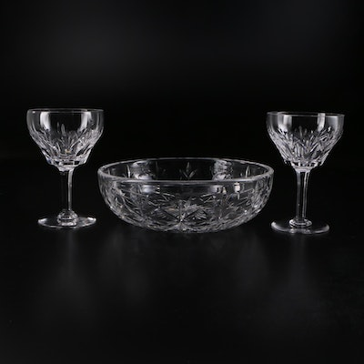 "Stuart Crystal ""Cardinal"" Claret Wine Glasses and Bowl, 1955–1975"