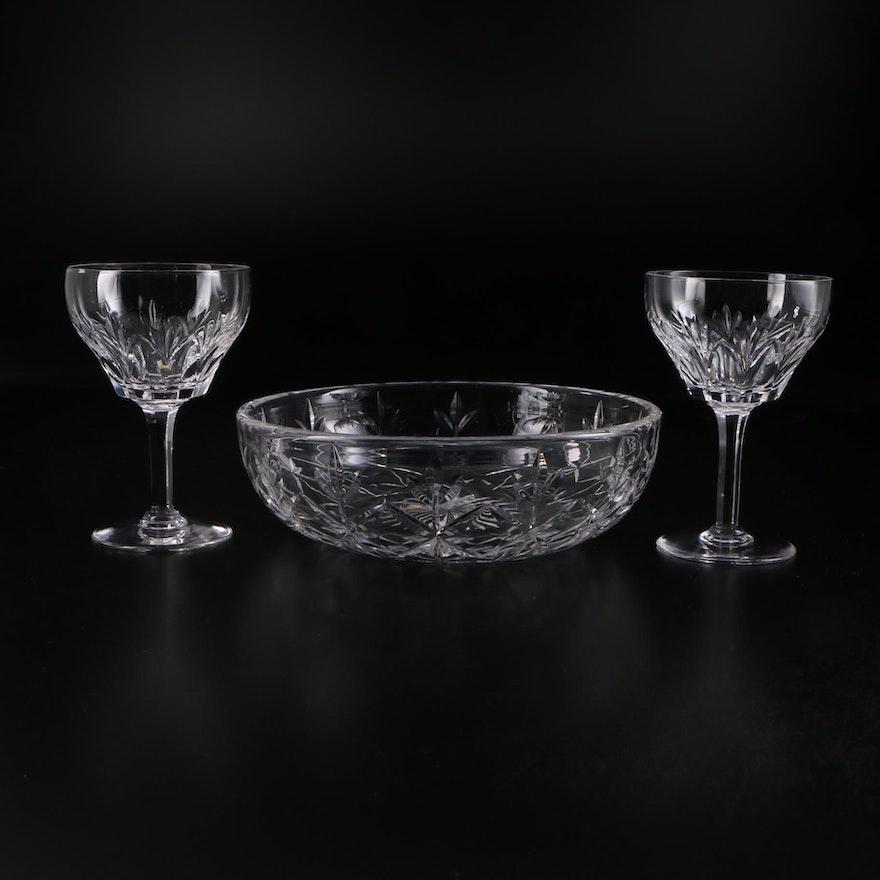 "Stuart Crystal ""Cardinal"" Claret Wine Glasses and Bowl, 1955–1975"