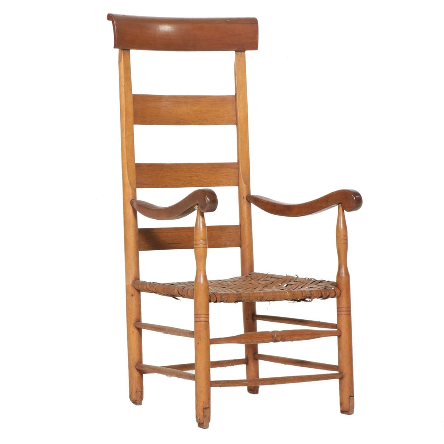 Ladderback Mixed Wood and Wicker Dining Chair
