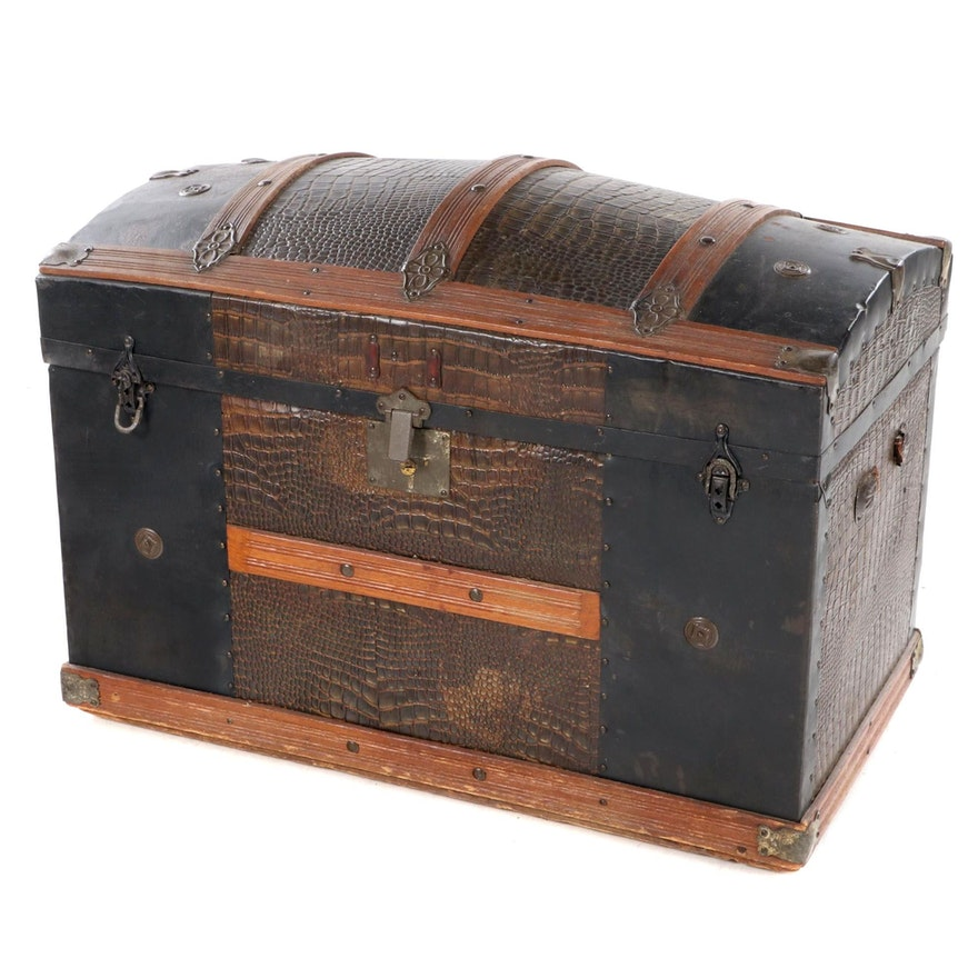 Late Victorian Slatted Oak and Alligator-Embossed Metal Dome-Top Steamer Trunk