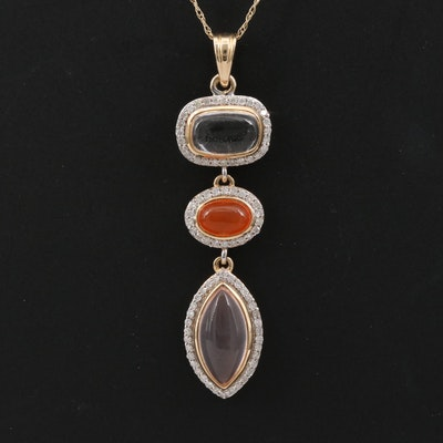 14K Rock Crystal Quartz, Carnelian and Diamond Halo Drop Pendant Necklace