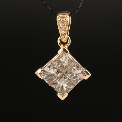 14K 1.02 CTW Brown Diamond Pendant