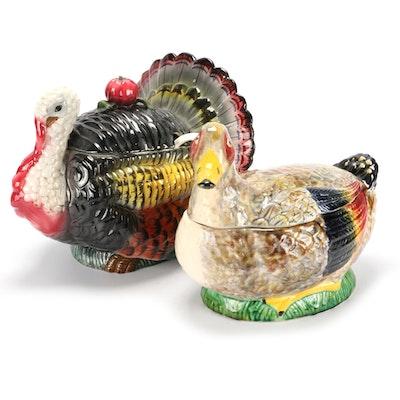 Italian Ceramic Figural Turkey and Duck Tureens, Mid to Late 20th Century