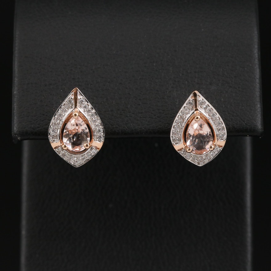 10K Morganite and White Zircon Teardrop Halo Earrings