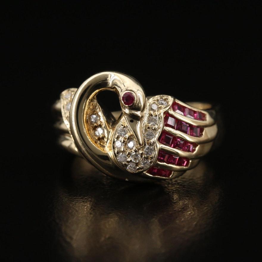 14K Rubies and Diamond Swan Ring