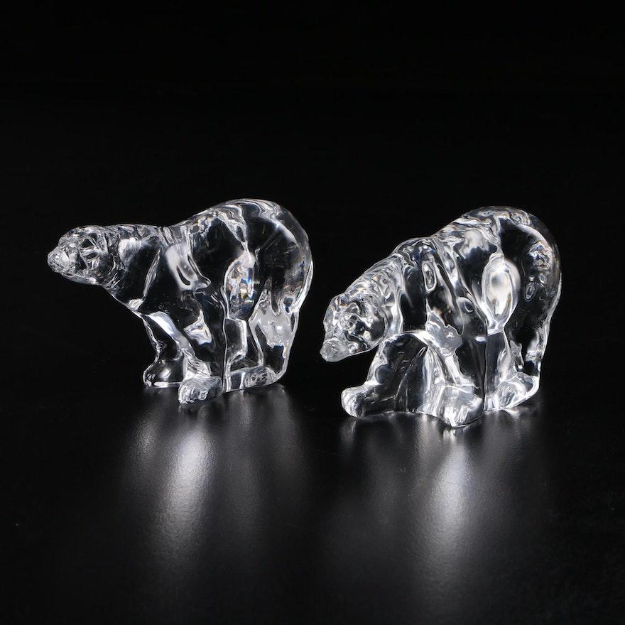 """The Franklin Mint """"Animals of the Ark"""" Crystal Polar Bear Figurines, 1976–1978"""