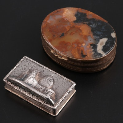 English Sterling Silver Embossed Snuff Box and Orbicular Jasper Hinged Box
