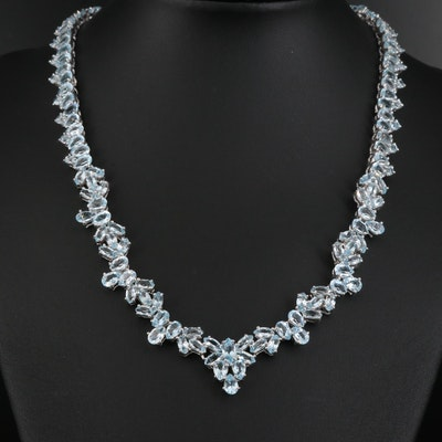Sterling Silver Topaz Cluster Necklace