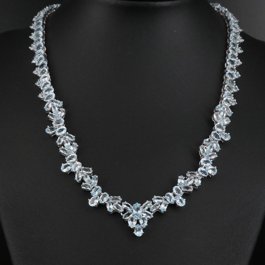 Sterling Silver Topaz Cluster Necklace